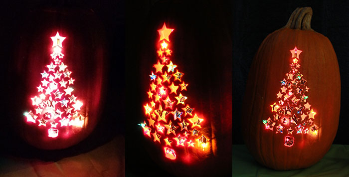 Christmas Tree Pumpkin - Carved Pumpkin