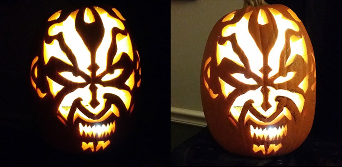 Darth Maul 'Star Wars' Pumpkin - Carved Pumpkin