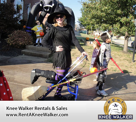 1) Dress up as a witch on your knee scooter