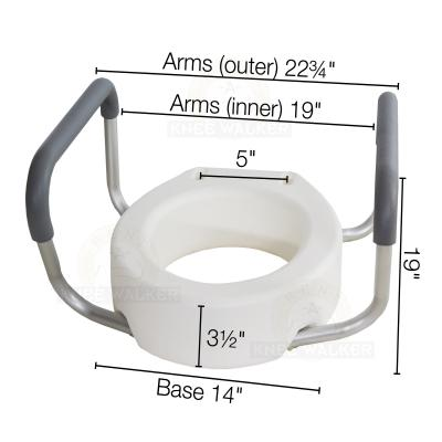 Raised Toilet Seat with Lock, Arms 300lbs, Elongated large photo 2