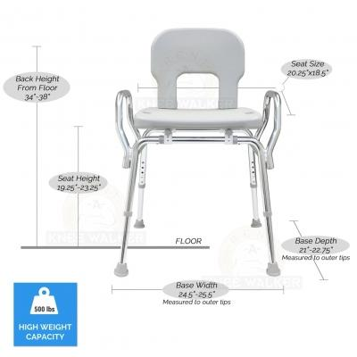 Shower Chair with Back and Arms, Bariatric 500lbs large photo 3