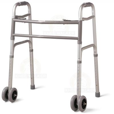 Walker-Two Button Folding, Front Wheels Bariatric 500lbs (P) large photo 1
