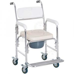 Thumbnail image of Commode, Wheeled Shower Chair, Padded with Footrest, 300lbs