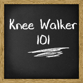 Chalkboard with knee walker 101 in writing