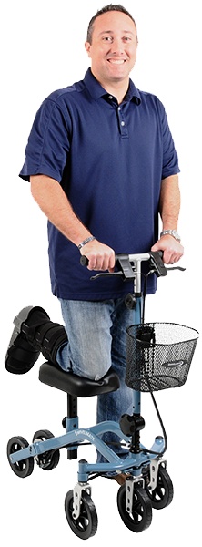 Person on Swivelmate Knee Walker