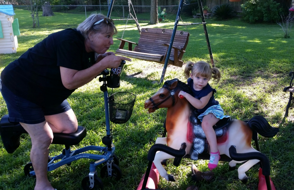 Sherry on the Swivelmate Knee Walker from Katy Texas September 2015
