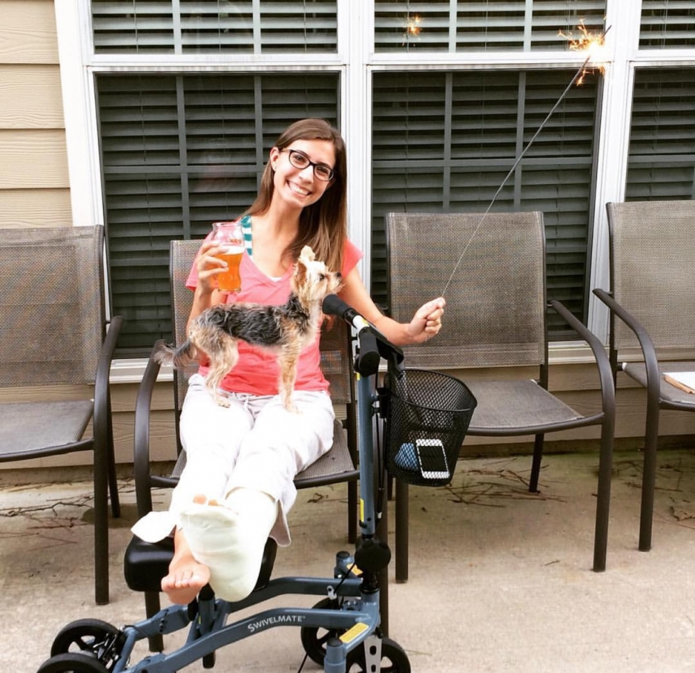Erin on the Swivelmate Knee Walker from Memphis Tennessee July 2015