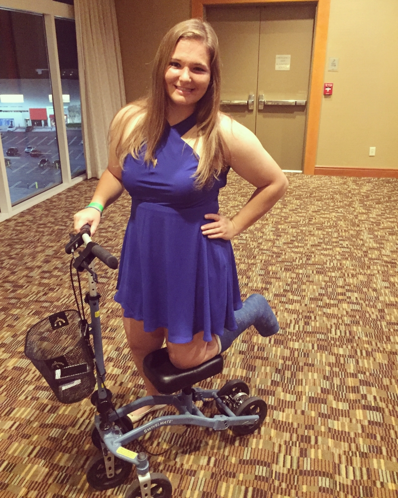 Hannah on the Swivelmate Knee Walker from Atlanta Georgia April 2016