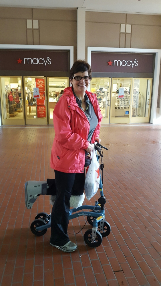 Gloria on the Swivelmate Knee Walker from Marina Del Rey California December 2016