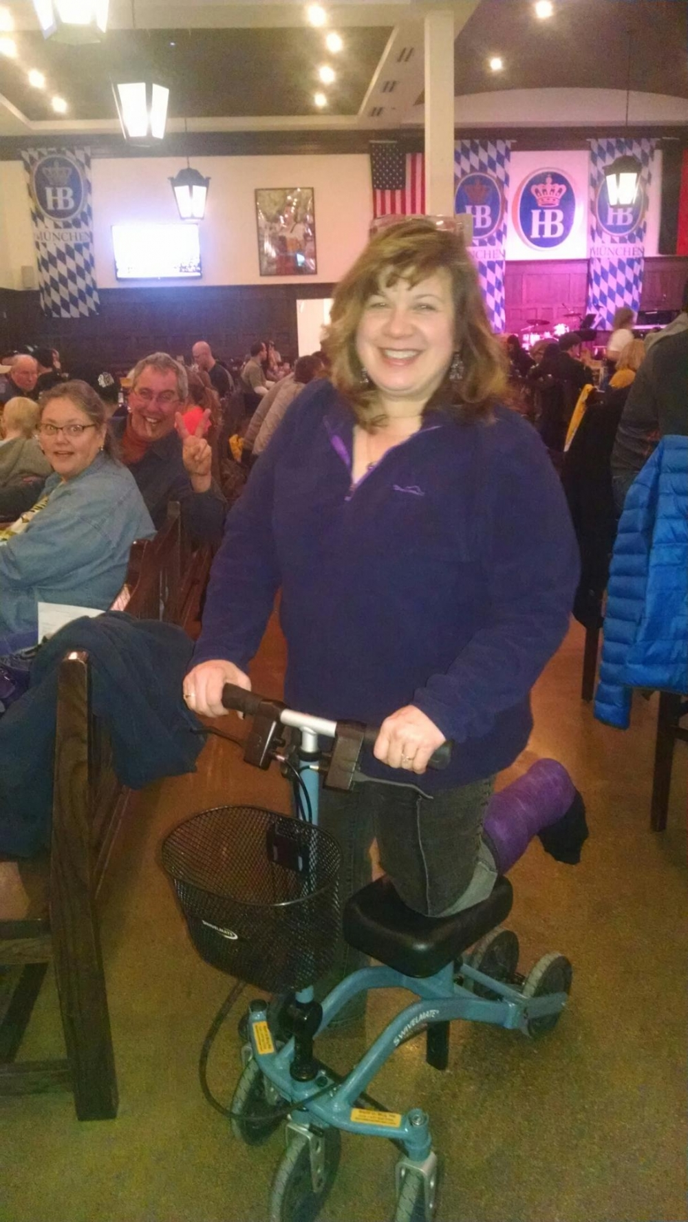 Renee on the Swivelmate Knee Walker from Hampshire Illinois March 2015