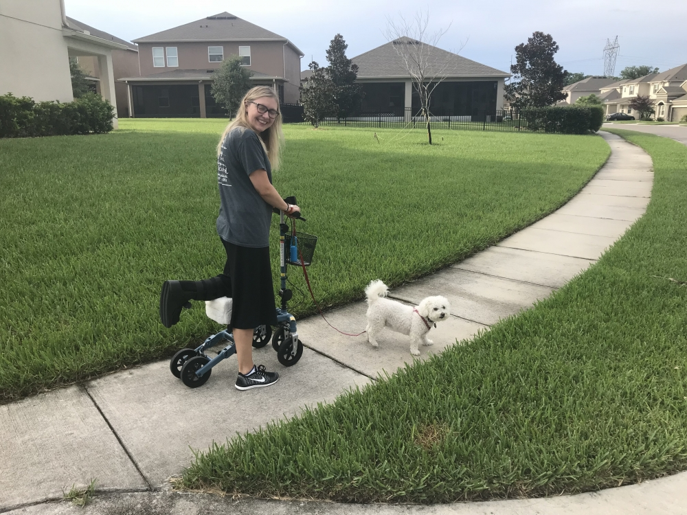 Sarah on the Swivelmate Knee Walker from Winter Park Florida August 2018