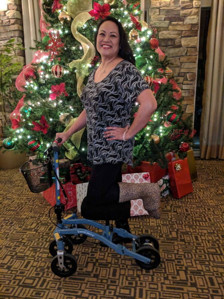 Vyrna on the Swivelmate Knee Walker from San Marcos California December 2017