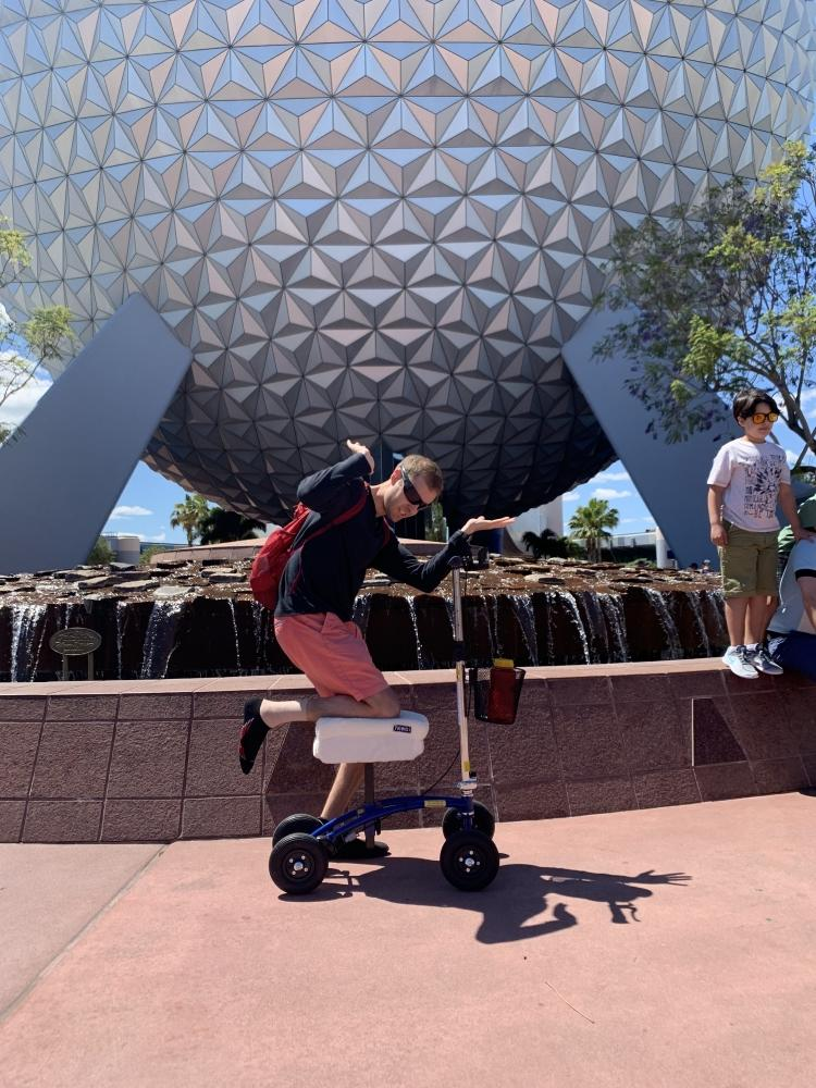Michael on the Orthomate All Terrain Knee Scooter from Pensacola Florida April 2019