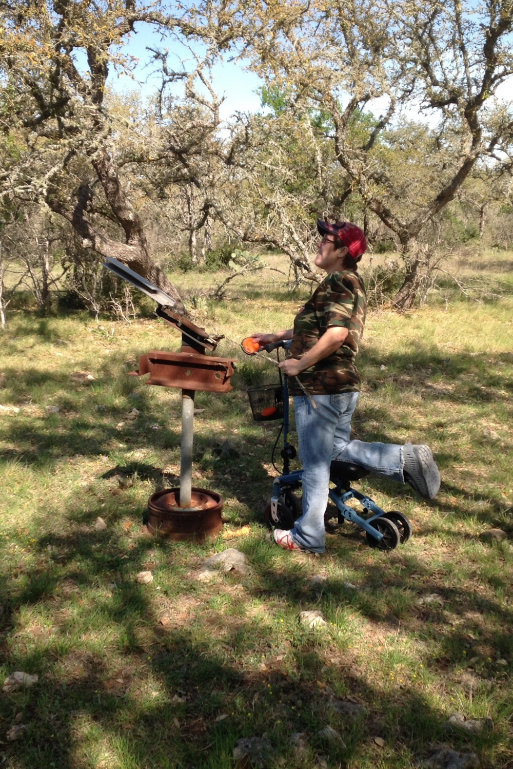 Leslie on the Swivelmate Knee Walker from San Marcos Texas March 2014
