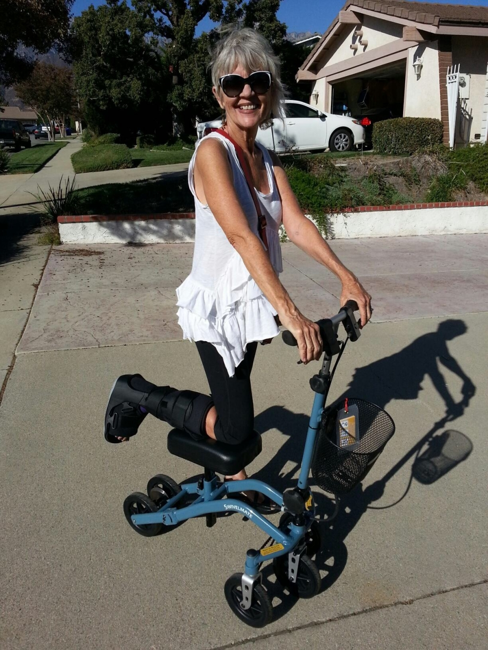 Beverly on the Swivelmate Knee Walker from Rancho Cucamonga California November 2014