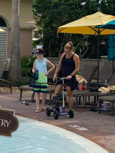 using a Orthomate All Terrain Knee Scooter from Sanford Florida November 2020