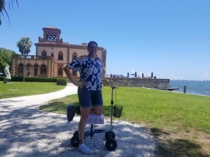 using a Orthomate All Terrain Knee Scooter from Pinellas Park Florida June 2019