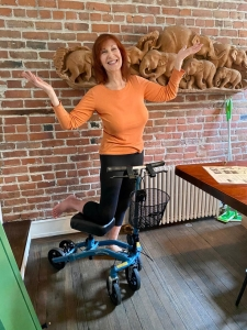 using a Swivelmate Knee Walker from Piermont New York April 2020