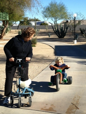 using a Swivelmate Knee Walker from Sun City West Arizona March 2015