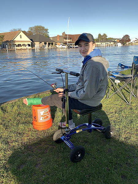 fishing on a knee scooter