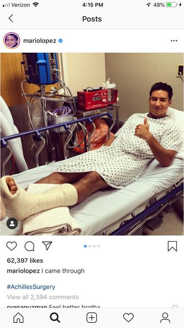 Mario Lopez on a knee scotoer