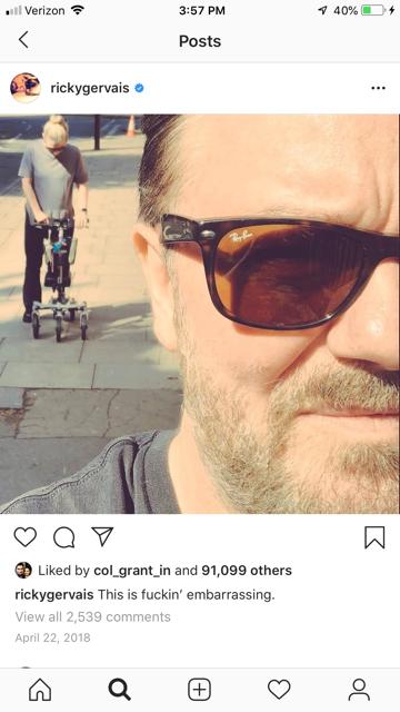 Ricky Gervais Partner on a Strideon