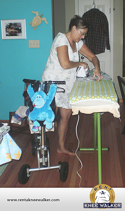 Ironing on a knee walker