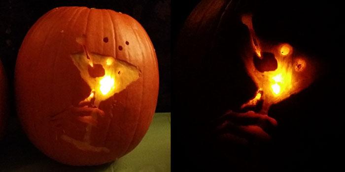 Drinking Skull Hand Pumpkin
