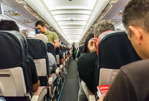 packed airline cabin