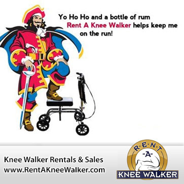 Captain Morgan uses Knee Walkers