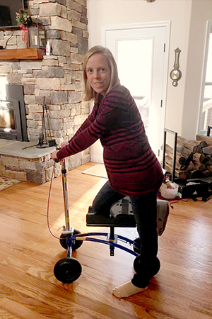 Caregiving with a knee walker