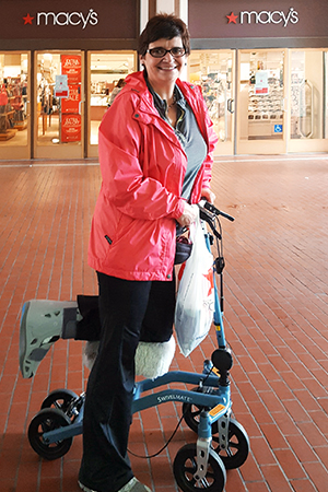 Shopping with a knee walker