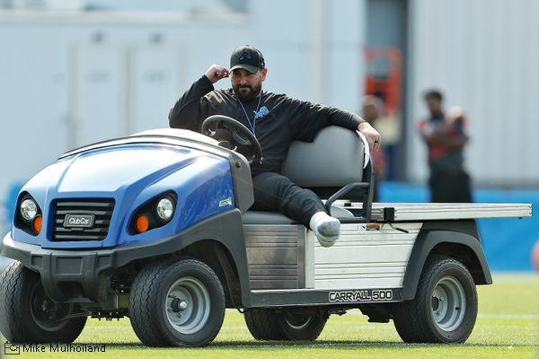 Matt Patricia on golf cart