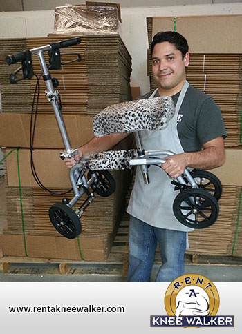 custom knee walker made of leopard skin fur