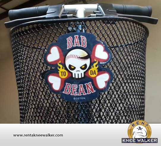 Bad To Da Bean Boston knee walker basket