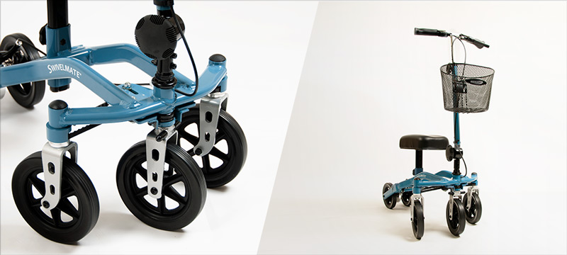 Knee scooter with swivel wheels