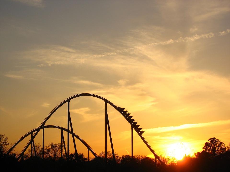 roller coaster sunset