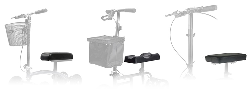 three different types of knee scooter cushions: semi-contoured,  contoured, flat.