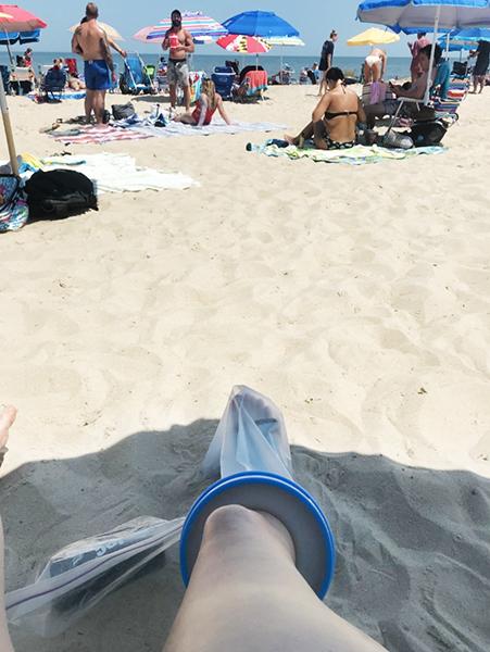 leg cast cover beach