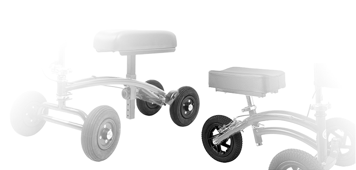 3 wheel and 4 wheel knee scooters side by side